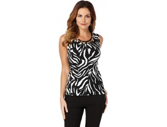 77% off Rafaella Sleeveless Zebra Print Top