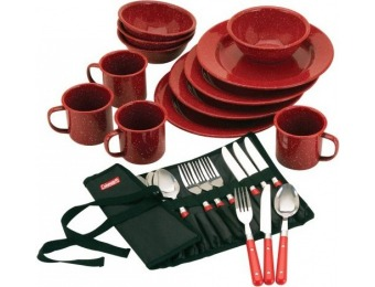 62% off Coleman 24-Pc Enamel Dinnerware Set