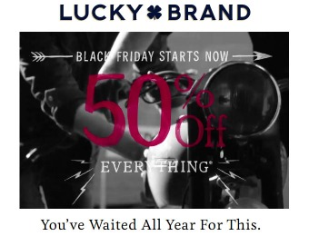 Lucky Brand Black Friday Sale Event 50% off Everything