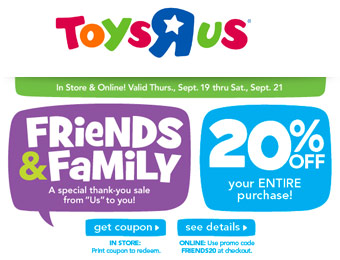 Extra 20% off Your Entire Purchase at Toys R Us w/code: FRIENDS20