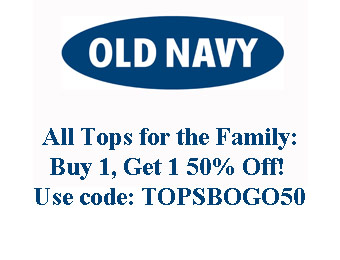 Buy One, Get One 50% All Tops at Old Navy w/code: TOPSBOGO50