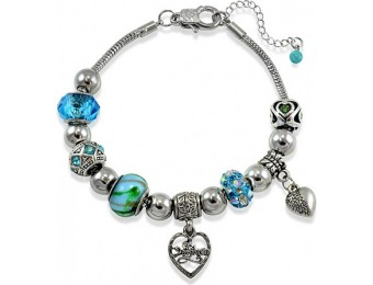 75% off Fine Silver Plated Daughter Heart Charm Bracelet