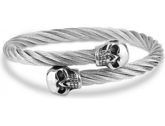 75% off HELEN ANDREWS Stainless Steel Cable Skull Bangle