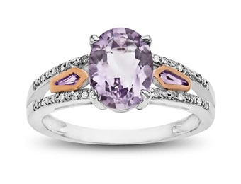 $166 off 10K Pink Gold & Sterling Silver 1 5/8 ct Amethyst Ring
