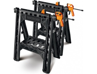 "43% off WORX 27"" ABS Plastic Clamping Saw Horses (Pair) WX065"
