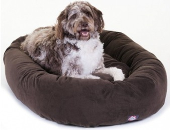 "62% off Majestic Pet 52"" Chocolate Suede Bagel Dog Bed"