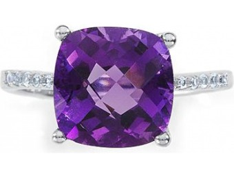 90% off Sterling Silver Lab Created Amethyst Ring