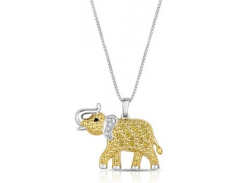 75% off 1/10Ctw Sterling Silver Diamond Elephant Pendant