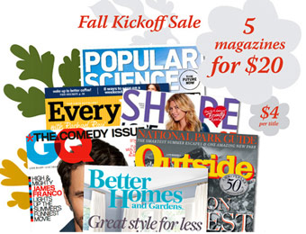 5 Annual Magazine Subscriptions for $20, 39 Titles to Choose From