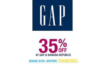 Extra 35% off Sitewide at Gap.com w/code: THANKYOU