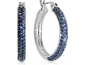 90% off Platinum Over Bronze Pave Blue Crystal Hoop Earrings