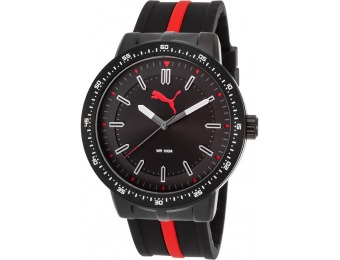 67% off Puma Men's Roadmap Black & Red Ion Plated SS Watch