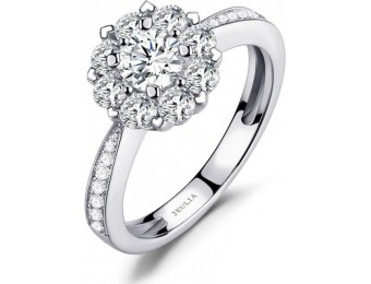70% off Jeulia Floral Halo Cluster Created White Sapphire Ring