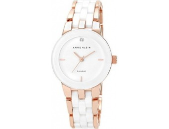69% off Anne Klein Diamond Dial Rose Gold-Tone Ceramic Watch