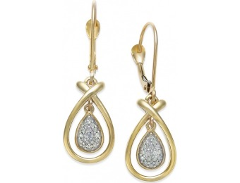 90% off Diamond Accent Frame Drop Earrings in 10k Gold