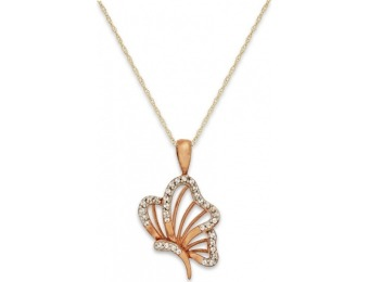 90% off Diamond Accent Butterfly Pendant Necklace in 10k Gold