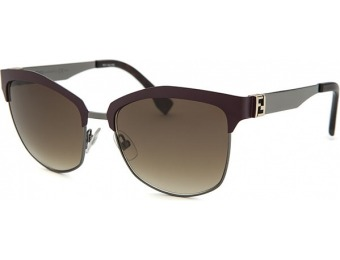 77% off Fendi Women's Square Burgundy and Gunmetal Sunglasses