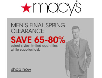 Macy's Men's Final Spring Clearance Sale, 65-80% off Suits & Sportcoats