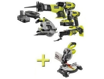 Deal: Free Miter Saw with Ryobi One+ 18-Volt 5 Tool Kit