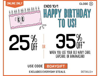 Extra 25% or 35% off Your Purchase at Old Navy
