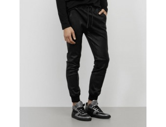 75% off Kenneth Cole Black Label Leather Jogger Men's Pants