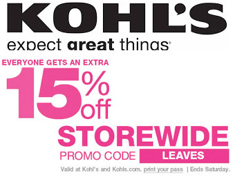 Save an Extra 15% off Storewide at Kohl's
