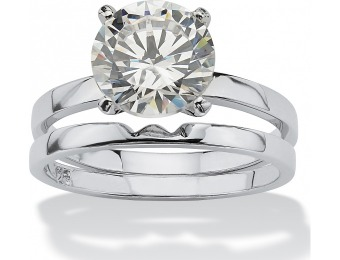 58% off 3 TCW Round CZ Platinum over Sterling Silver Ring