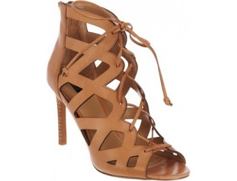 53% off G.I.L.I Suede Lace-up Cut-Out Heel Sandals