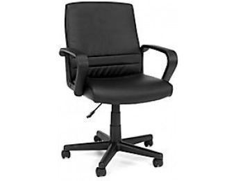 67% off OFM Essentials Vinyl Mid-Back Chair, Black