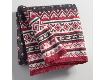 90% off Fair Isle Knit Throw: Red