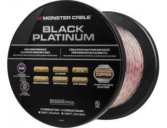 63% off Monster Black Platinum XP Clear Jacket 50' Speaker Cable