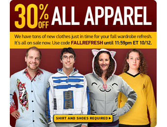 Extra 30% off All Apparel at ThinkGeek, Over 800 items