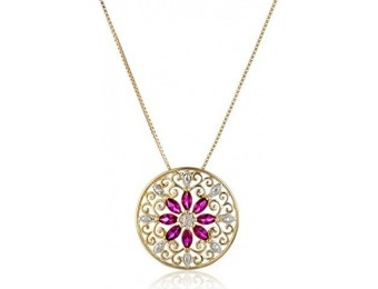 73% off 18k Gold-Plated Silver Mandala Ruby Filigree Necklace