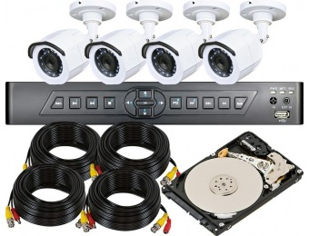 64% off 4-Channel DVR Kit with 4x 720p Infrared Cameras, 500GB HDD