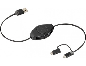 73% off ReTrak USB to Micro USB Cable w/ Lightning Adapter
