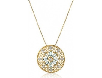 89% off 18k Gold-Plated Silver Mandala Sky Blue Topaz Necklace