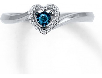 $84 off Blue & White 1/10 Cttw Diamonds Sterling Silver Heart Ring