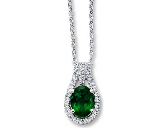 $94 off Lab-Created Emerald Sterling Silver Necklace