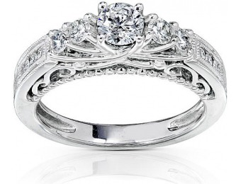 $3,220 off Kobelli 3/4 cttw Diamond 5-Stone Engagement Ring in 14K White Gold