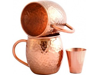 63% off Set of 2 Moscow Mule Copper Mugs w/ Shot Glass