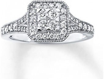62% off 1/2 cttw Round-cut 10K White Gold Diamond Ring