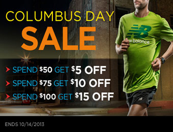 Extra $5, $10 or $15 off Columbus Day Sale at Joe's New Balance