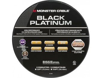$100 off Monster Black Platinum XP 100' In-Wall Compact Speaker Cable