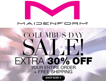 Columbus Day Sale! Extra 30% off at Maidenform