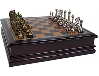 86% off Metal Chess Set w/ Deluxe Wood Board and Storage