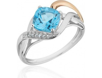 50% off Two-Tone Swiss Blue Topaz and Created White Sapphire Ring