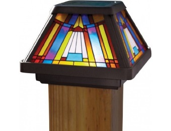 81% off Moonrays 91241 Stained Glass Solar Post Cap Lamp