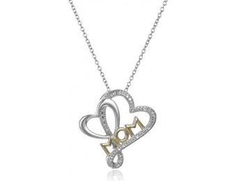 "90% off Rhodium / 18k Gold Plated Silver Diamond ""Mom"" Necklace"