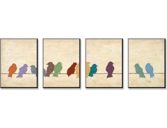 75% off Birds Meeting Mounted Print