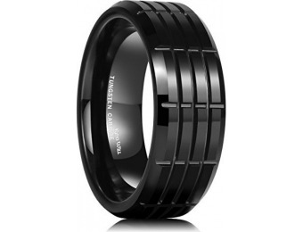 94% off King Will 8mm Tungsten Carbide Multi Groove Wedding Band